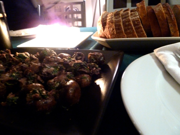stuffed mushrooms and todd's homemade bread