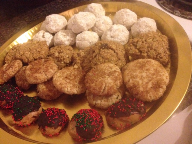a tray of the treats i brought to a friend's annual holiday cookie party